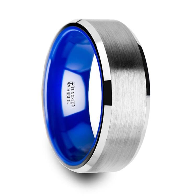 Men's Tungsten Wedding Ring with Blue Ceramic | 02