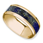 Beveled Blue Lapis Lazuli Inlay Men's Wedding Ring in 14K Yellow Gold  | Thumbnail 01