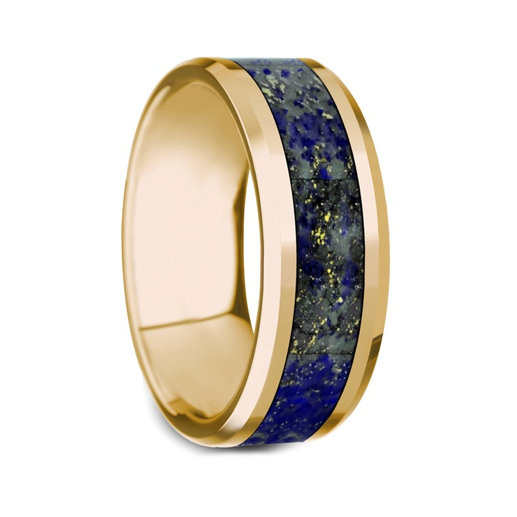 Beveled Blue Lapis Lazuli Inlay Men's Wedding Ring in 14K Yellow Gold  | 02