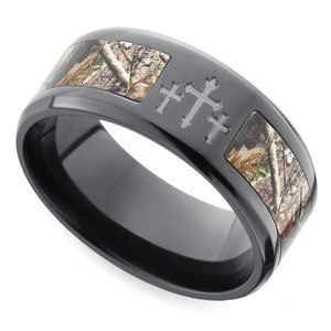 Beveled Camo Inlay Men's Ring with Cross Design in Zirconium