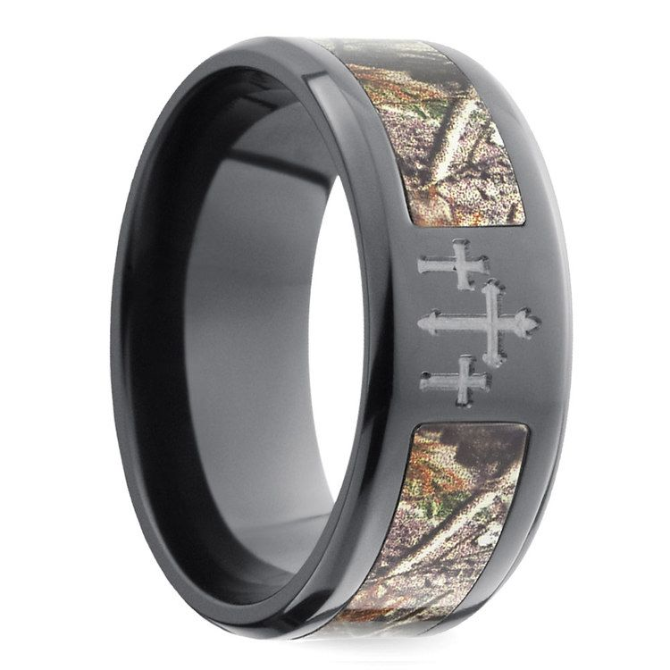 Beveled Camo Inlay Men's Ring with Cross Design in Zirconium | 02