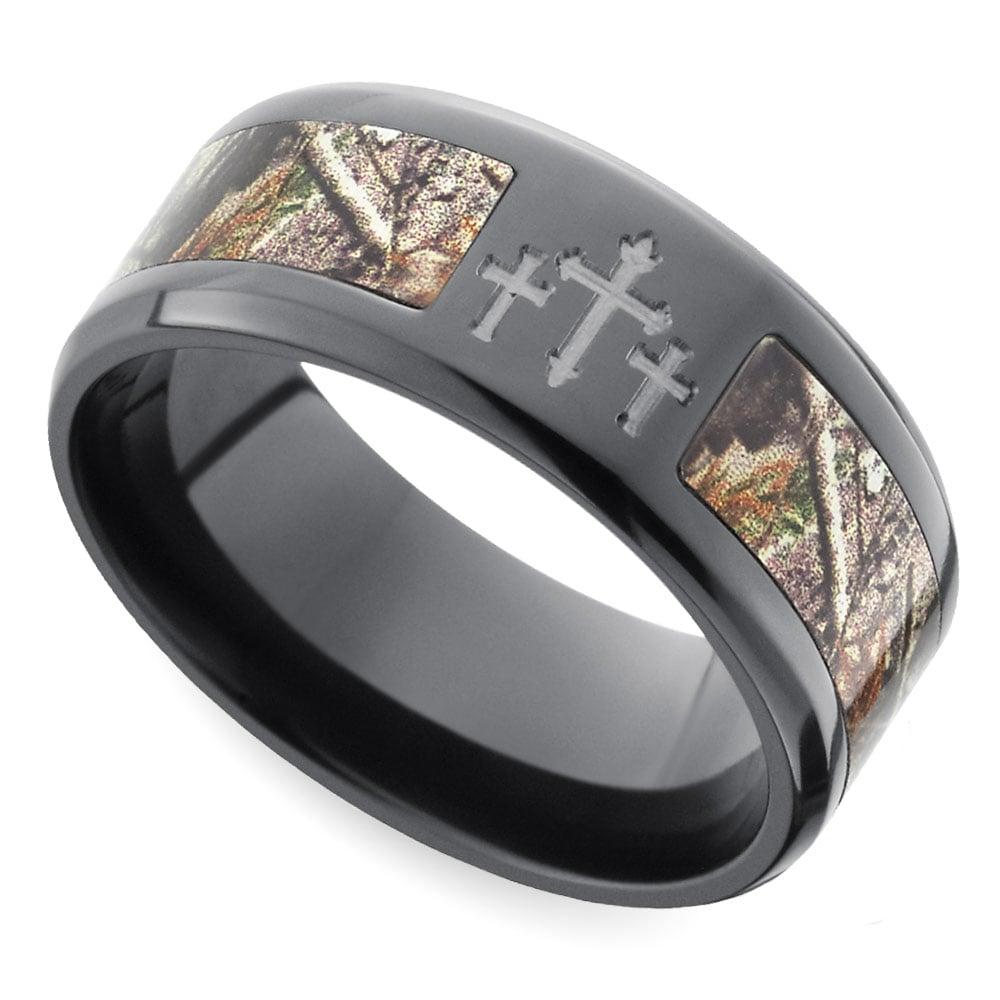 Beveled Camo Inlay Men S Ring With Cross Design In Zirconium