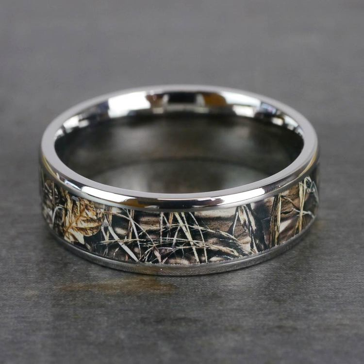 Beveled Camouflage Inlay Men's Wedding Ring in Titanium | 05