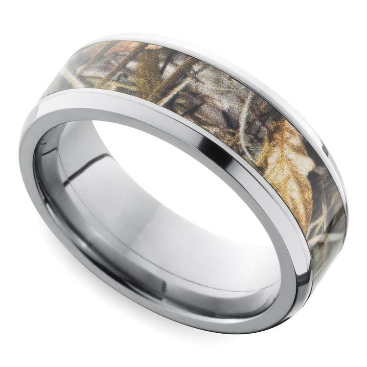 Beveled Camouflage Inlay Men's Wedding Ring in Titanium | 01