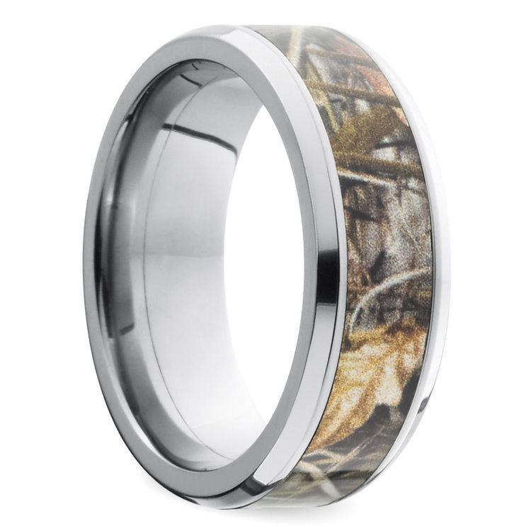 Beveled Camouflage Inlay Men's Wedding Ring in Titanium | 02