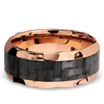 Beveled Carbon Fiber Inlay Men's Wedding Ring in 14K Rose Gold | Thumbnail 03