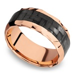 Beveled Carbon Fiber Inlay Men's Wedding Ring in 14K Rose Gold | Thumbnail 01