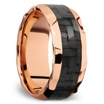 Beveled Carbon Fiber Inlay Men's Wedding Ring in 14K Rose Gold | Thumbnail 02