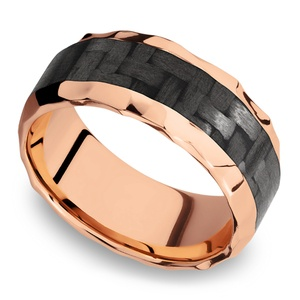 Beveled Carbon Fiber Inlay Men's Wedding Ring in 14K Rose Gold