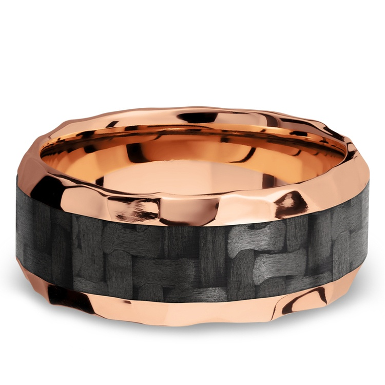 Beveled Carbon Fiber Inlay Men's Wedding Ring in 14K Rose Gold | 03