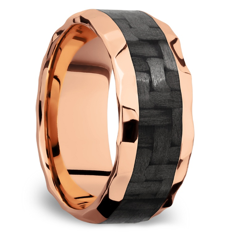 Beveled Carbon Fiber Inlay Men's Wedding Ring in 14K Rose Gold | 02