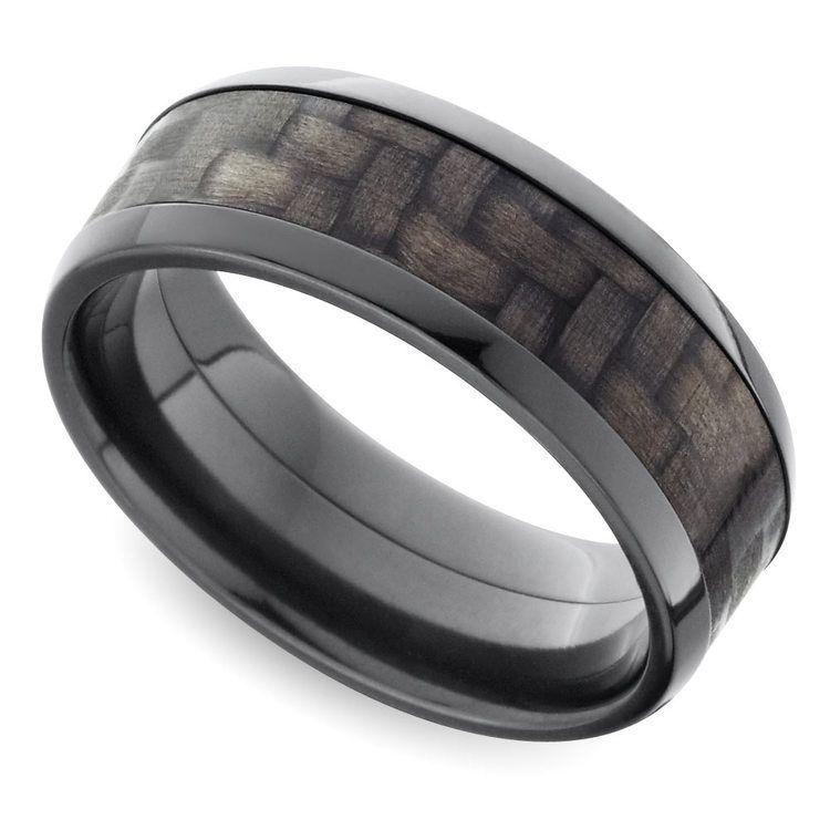 Beveled Carbon Fiber Men's Wedding Ring in Zirconium | 01