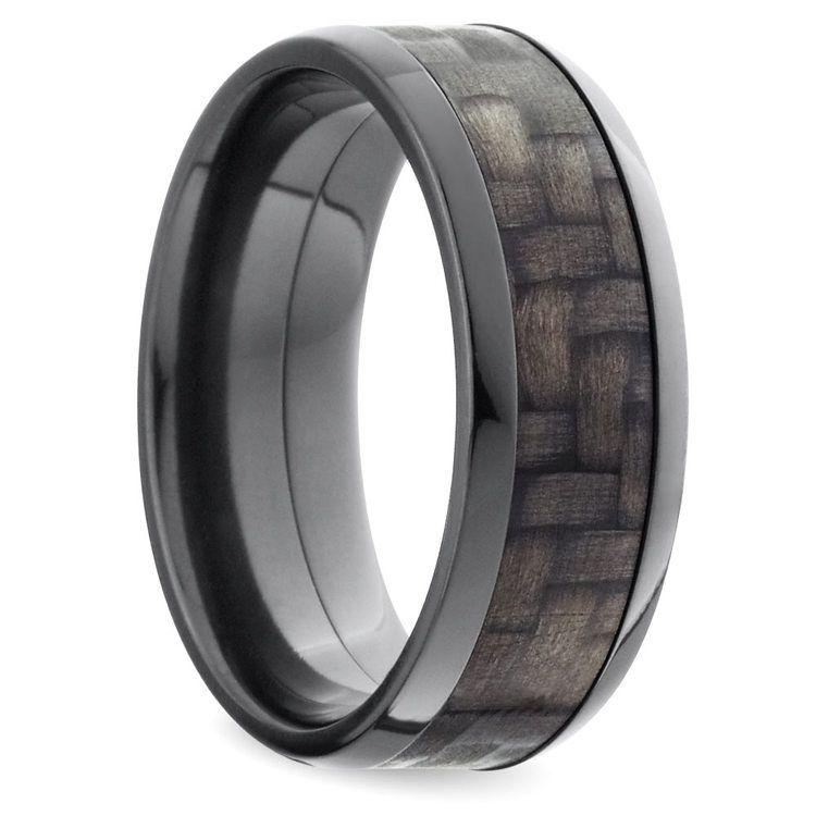 Beveled Carbon Fiber Men's Wedding Ring in Zirconium | 02