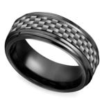Beveled Carbon Fiber Men's Wedding Ring in Black Titanium | Thumbnail 01