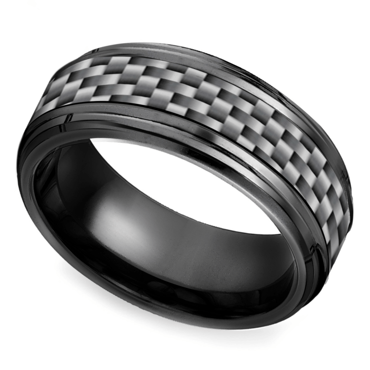 Beveled carbon fiber men39s wedding ring in black titanium for Carbon fibre wedding ring