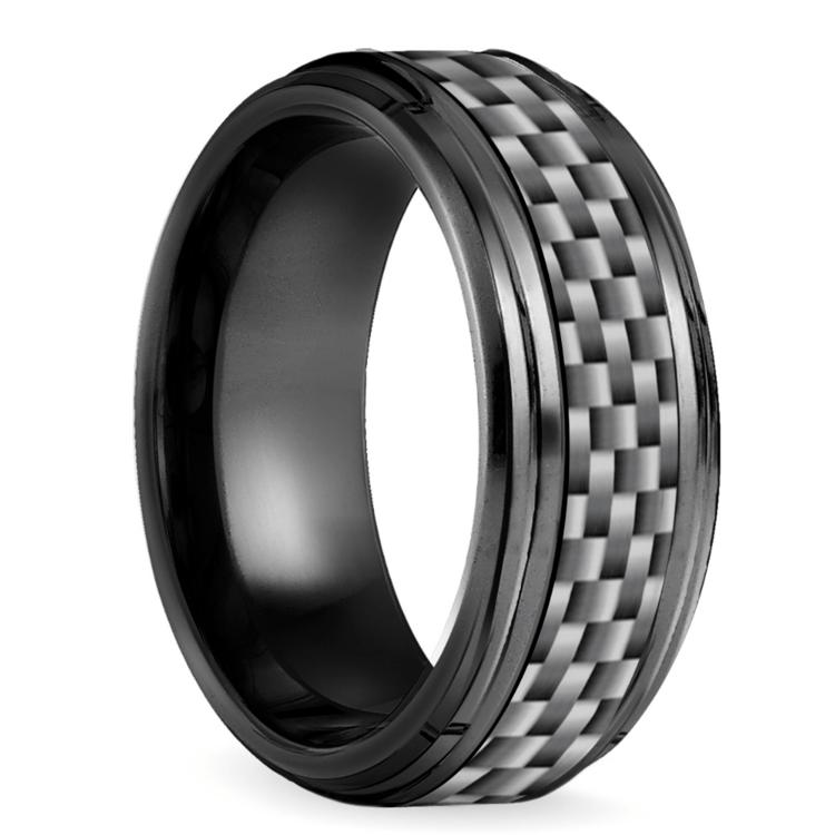 Beveled Carbon Fiber Men's Wedding Ring in Black Titanium | 02
