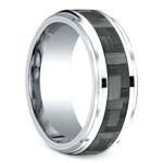 Beveled Carbon Fiber Men's Wedding Ring in Cobalt   Thumbnail 02