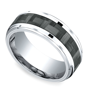 Beveled Carbon Fiber Men's Wedding Ring in Cobalt