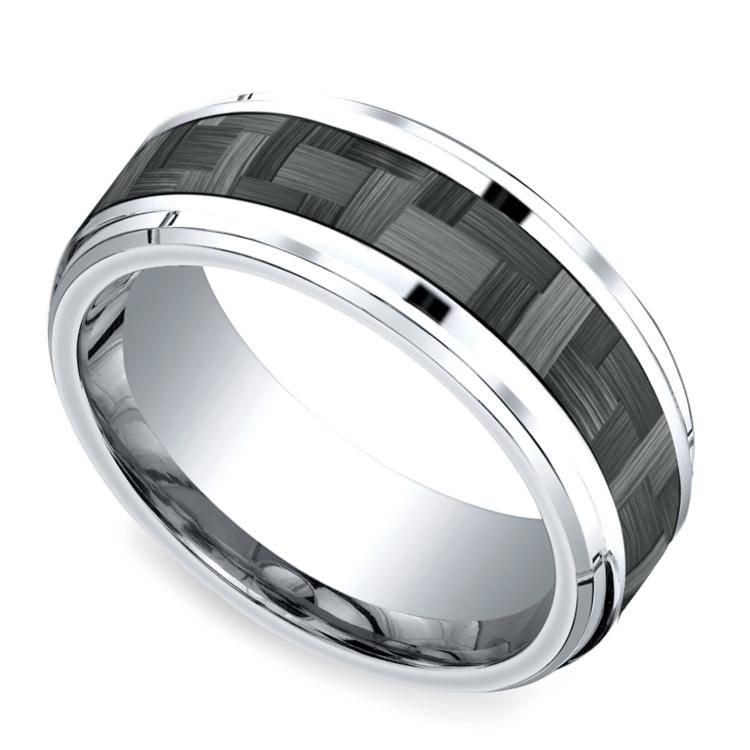 Beveled Carbon Fiber Men's Wedding Ring in Cobalt   01