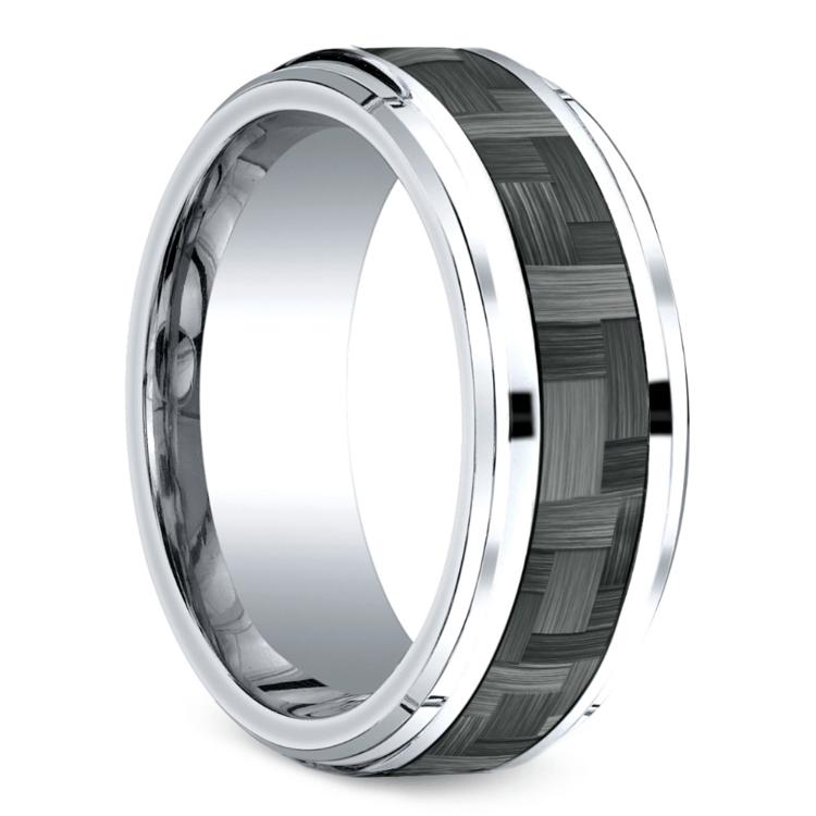Beveled Carbon Fiber Men's Wedding Ring in Cobalt   02