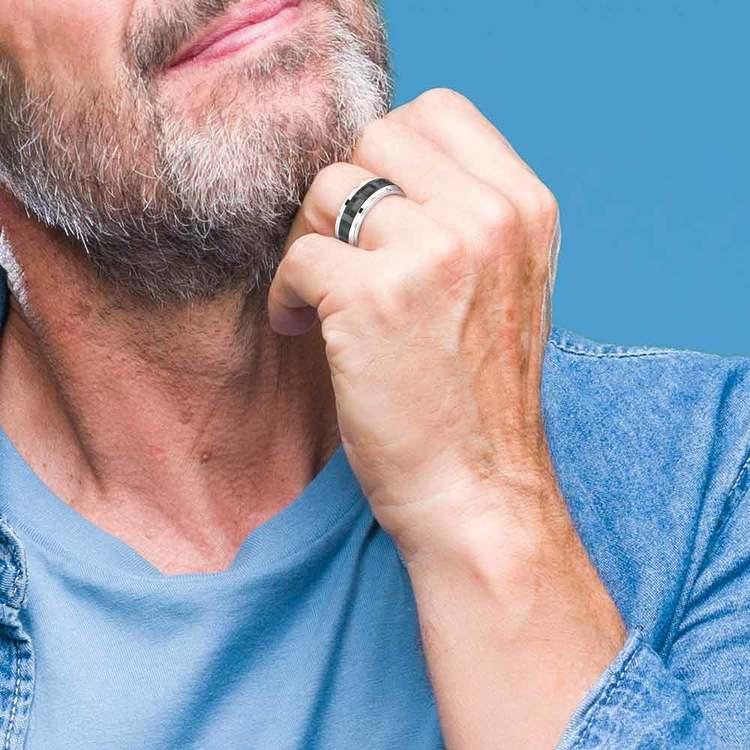 Beveled Carbon Fiber Men's Wedding Ring in Cobalt   05