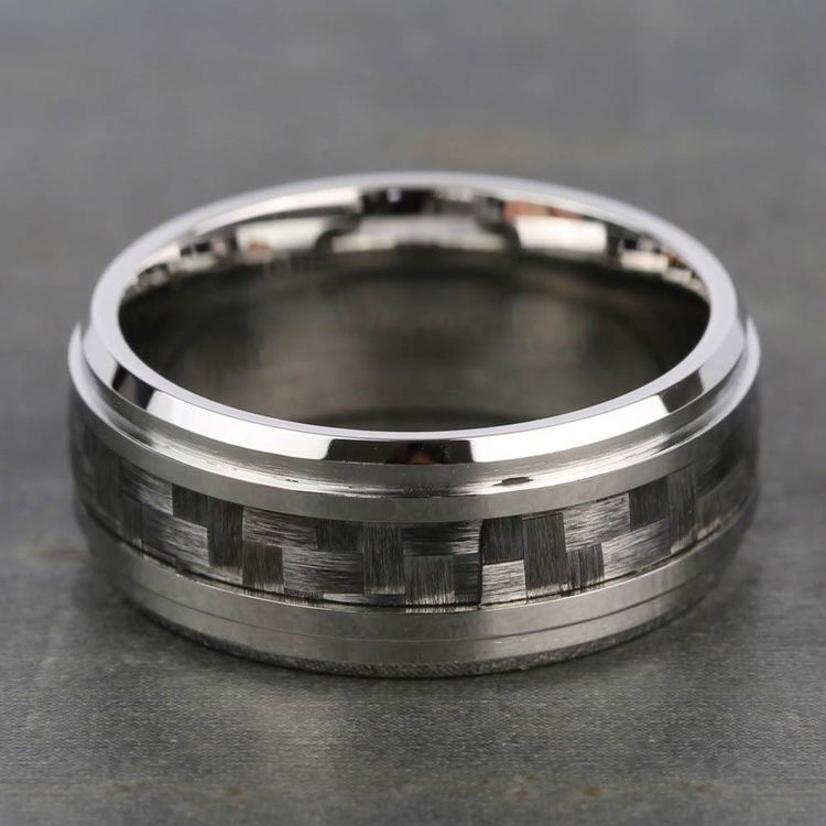 Beveled Carbon Fiber Men's Wedding Ring in Cobalt   03