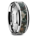 Beveled Coprolite Fossil Inlay Men's Wedding Ring in Tungsten | Thumbnail 02