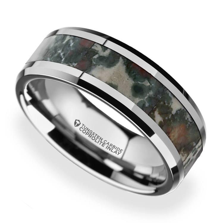 Beveled Coprolite Fossil Inlay Men's Wedding Ring in Tungsten | 01