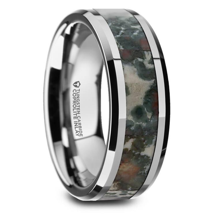 Beveled Coprolite Fossil Inlay Men's Wedding Ring in Tungsten | 02