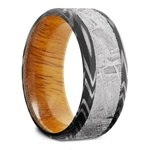 Solar Wind - Zebra Damascus & Meteorite Mens Band with Osage Sleeve | Thumbnail 02