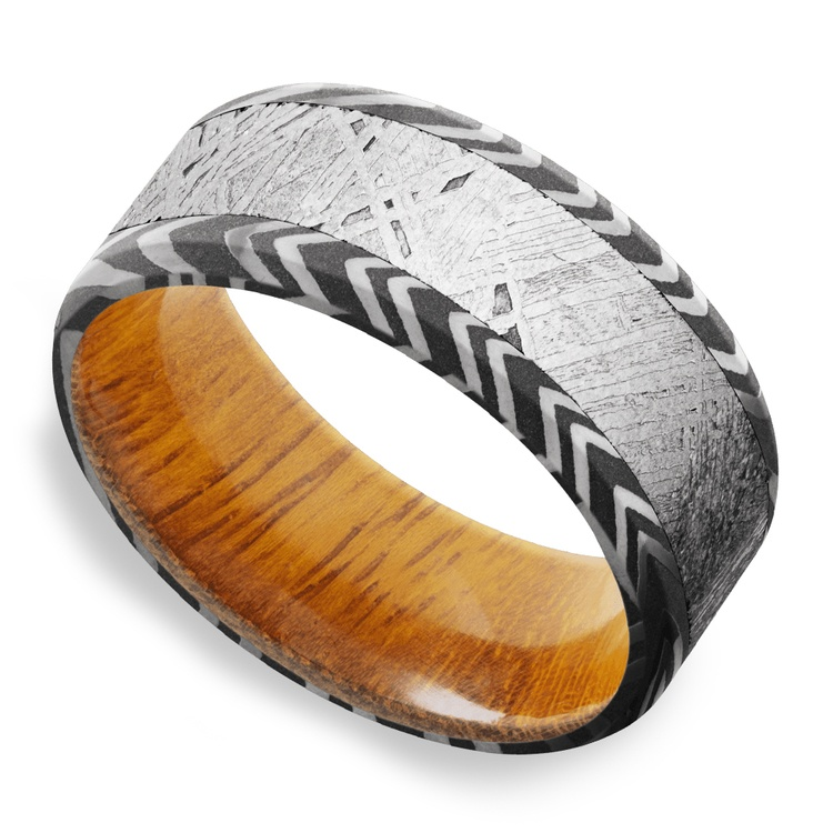 Solar Wind - Zebra Damascus & Meteorite Mens Band with Osage Sleeve | 01