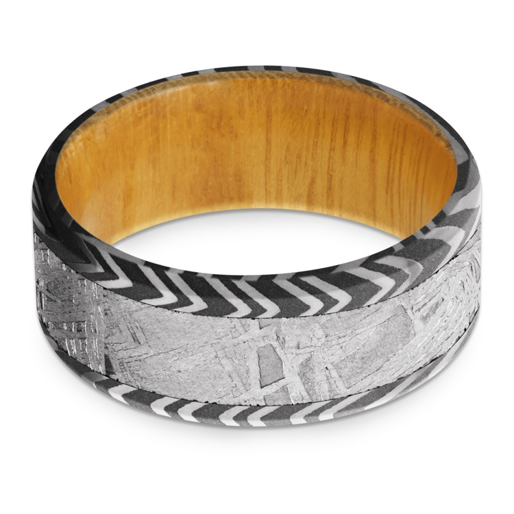 Solar Wind - Zebra Damascus & Meteorite Mens Band with Osage Sleeve | 03