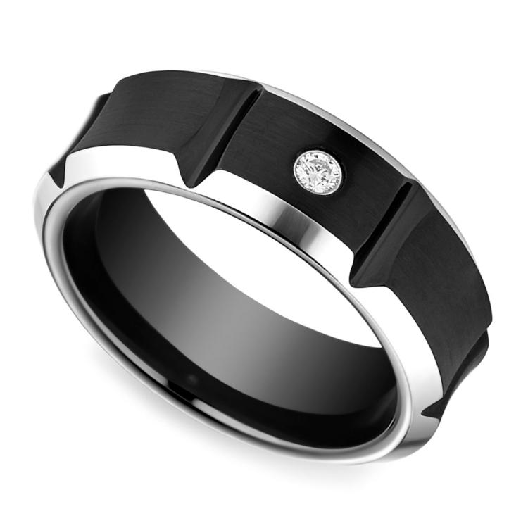 Beveled Diamond Men's Wedding Ring in Blackened Cobalt | 01