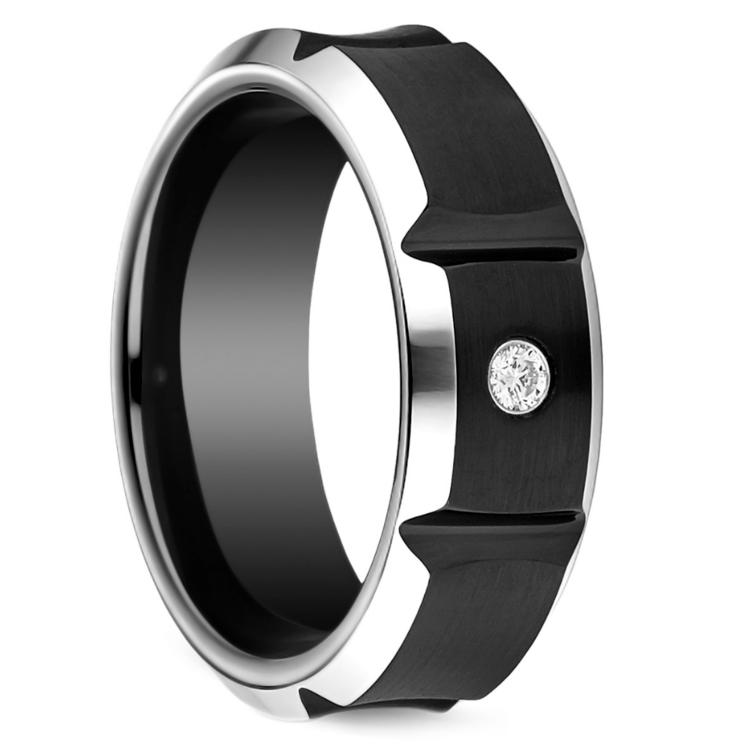 Beveled Diamond Men's Wedding Ring in Blackened Cobalt | 02