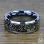 Beveled Dinosaur Bone Inlay Men's Wedding Ring In Tungsten | Thumbnail 04