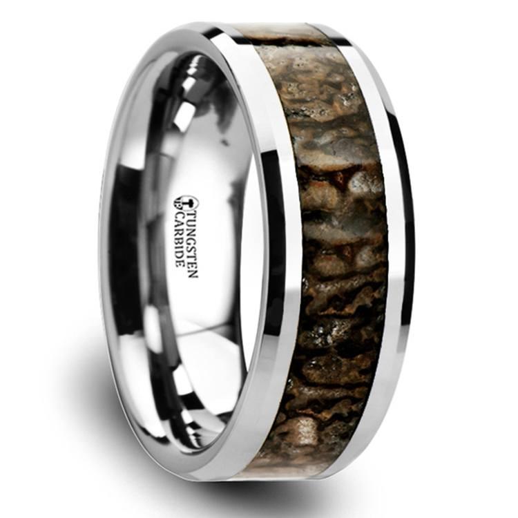 Beveled Dinosaur Bone Inlay Men's Wedding Ring In Tungsten | 02