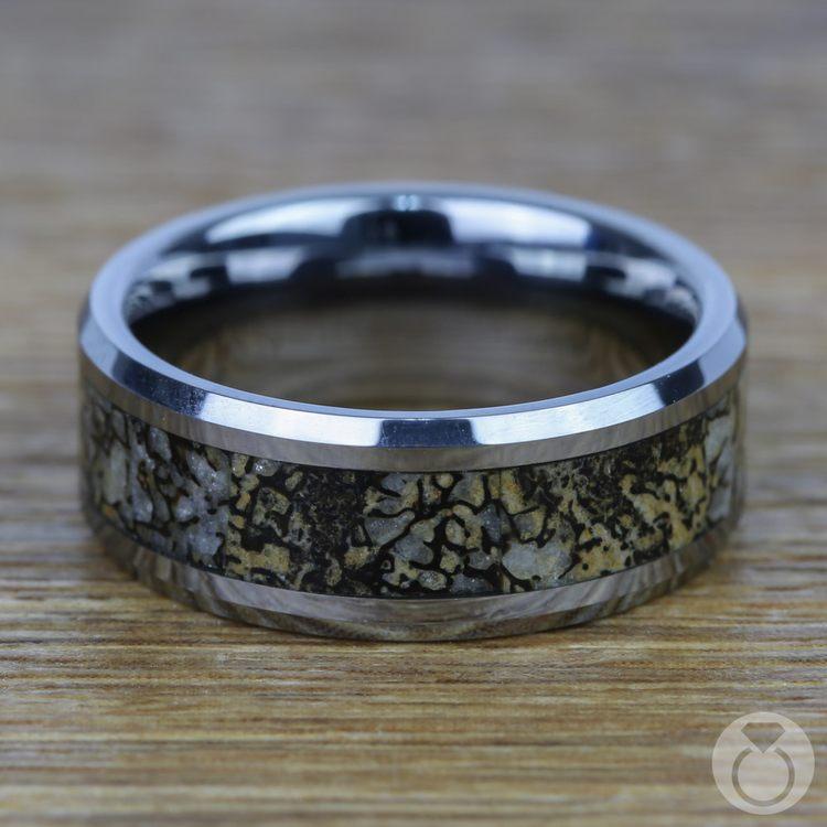 Beveled Dinosaur Bone Inlay Men's Wedding Ring In Tungsten | 04