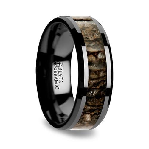 beveled dinosaur bone inlay mens wedding ring in black ceramic - Dinosaur Bone Wedding Ring