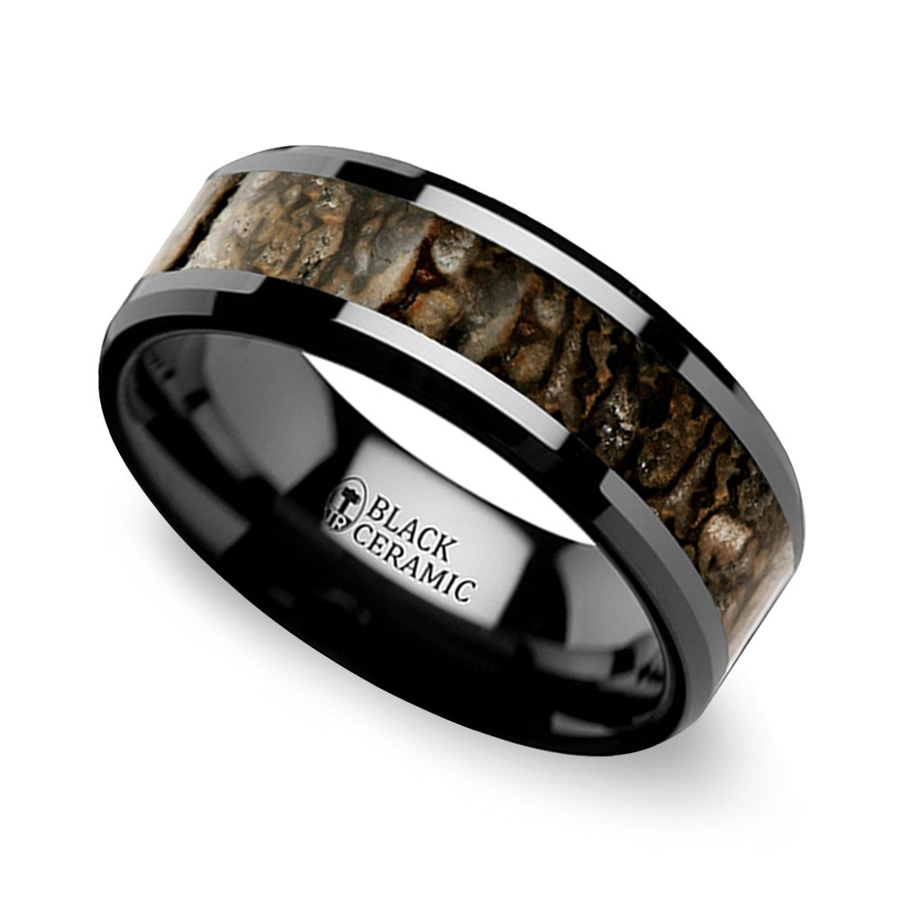 beveled dinosaur bone inlay mens wedding ring in black ceramic - Dinosaur Bone Wedding Ring