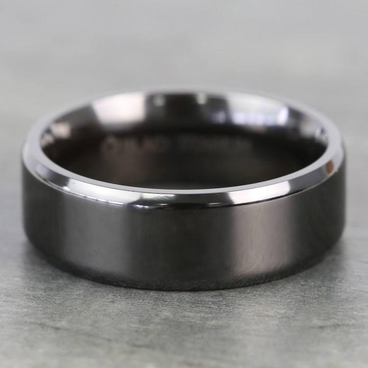 Beveled Edge Black Titanium Men's Wedding Ring (8mm)   03