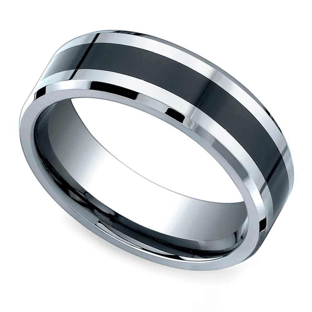 beveled ceramic inlay mens wedding ring in cobalt - Cobalt Wedding Rings