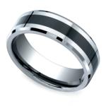 Beveled Ceramic Inlay Men's Wedding Ring in Cobalt | Thumbnail 01