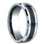Beveled Ceramic Inlay Men's Wedding Ring in Cobalt | Thumbnail 02