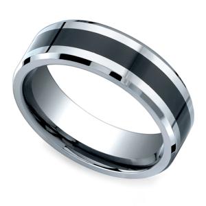 Beveled Ceramic Inlay Men S Wedding Ring In Cobalt