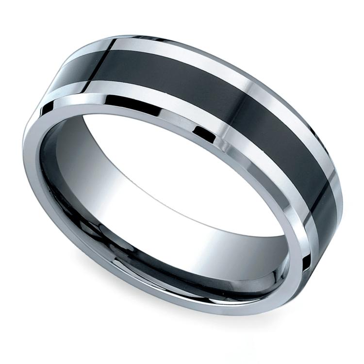 Beveled Ceramic Inlay Men's Wedding Ring in Cobalt | 01