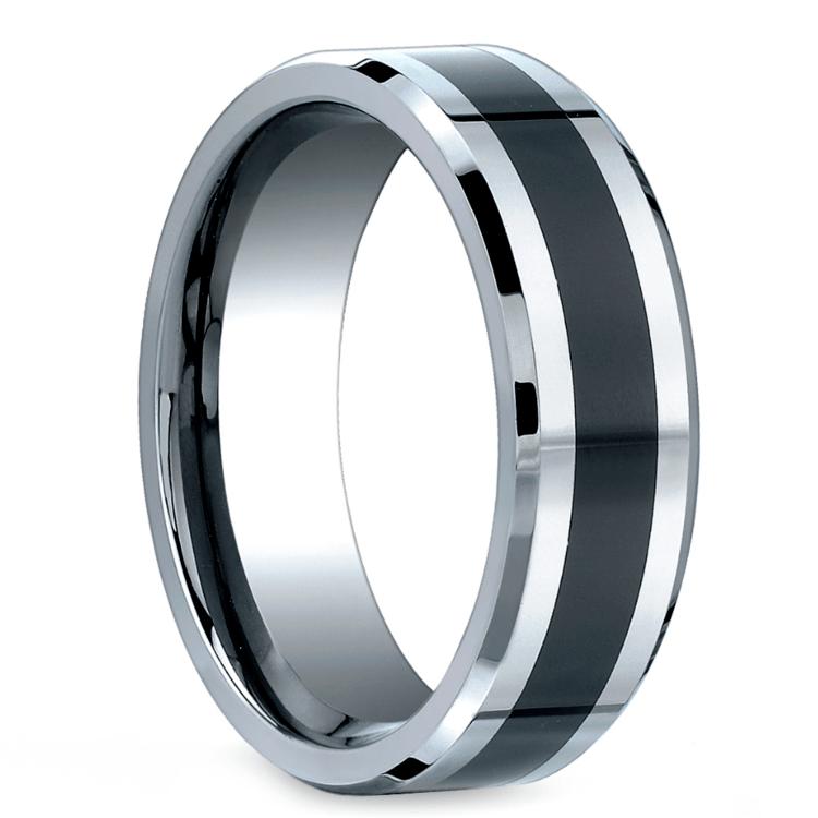 Beveled Ceramic Inlay Men's Wedding Ring in Cobalt | 02