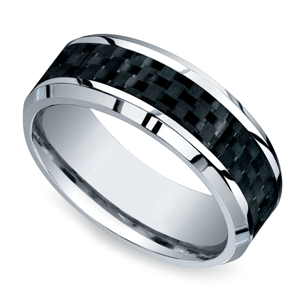 beveled carbon fiber inlay mens wedding ring in cobalt - Wedding Ring Mens