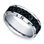 Beveled Carbon Fiber Inlay Men's Wedding Ring in Cobalt | Thumbnail 01