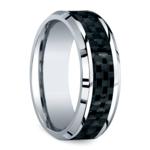 Beveled Carbon Fiber Inlay Men's Wedding Ring in Cobalt | Thumbnail 02