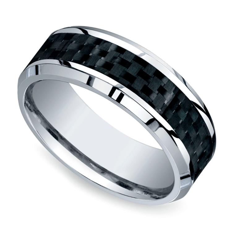 Beveled Carbon Fiber Inlay Men's Wedding Ring in Cobalt | 01
